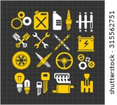 car part icons set on a dark... | Shutterstock .eps vector #315562751