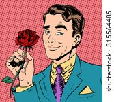 the man with the flower dating... | Shutterstock . vector #315564485