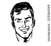 smiling man face retro line art ... | Shutterstock . vector #315564569