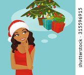 thinking black woman in santa... | Shutterstock .eps vector #315596915