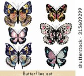 Stock vector collection of vector realistic colorful butterflies for design 315609299