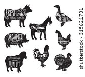 farm animals set chalkboard... | Shutterstock . vector #315621731