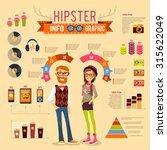 hipster infographic set with