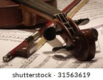 Old Master Violin With Bow And...