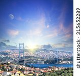 Bridge Over Bosphorus At Sunse...