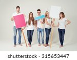 full length shot of five young... | Shutterstock . vector #315653447