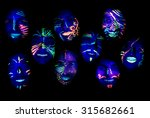 teenagers with face painted on... | Shutterstock . vector #315682661