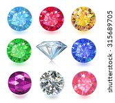 set of colored gems isolated on ... | Shutterstock .eps vector #315689705