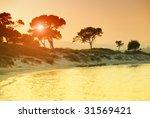 sunset over vourvorou beach ... | Shutterstock . vector #31569421