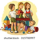 children playing with building... | Shutterstock .eps vector #315700997