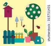 garden scrapbook  set of garden ... | Shutterstock .eps vector #315711431