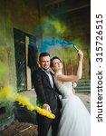 wedding couple runs color smoke ... | Shutterstock . vector #315726515