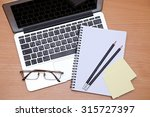office table with laptop ...   Shutterstock . vector #315727397