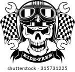 skull wearing race helmet ... | Shutterstock .eps vector #315731225