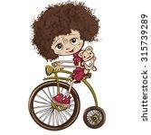 illustration girl with bike | Shutterstock . vector #315739289
