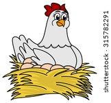 hen brooding eggs | Shutterstock .eps vector #315782291