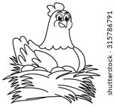 hen brooding eggs for coloring | Shutterstock .eps vector #315786791