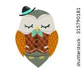 cartoon owl flat mascot. the...