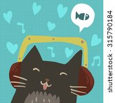 cartoon cute cat with...
