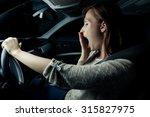 nearly sleeping driving woman... | Shutterstock . vector #315827975