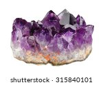 Mineral Amethyst Crystals On A...