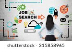 Stock photo rear view of the brunette woman who is looking at the wall with colourful icons about job vacancies 315858965