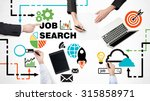 Stock photo top view of the brainstorming process of searching the best job vacancies colourful recruitment 315858971