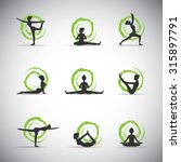 9 vector yoga pose silhouettes... | Shutterstock .eps vector #315897791