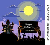 zombie hand hold board dead... | Shutterstock .eps vector #315901475