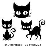 Stock vector halloween set of a black cat 315905225