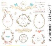wedding retro set. arrows ... | Shutterstock .eps vector #315911447