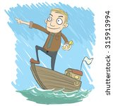 cartoon businessman on the boat ... | Shutterstock .eps vector #315913994