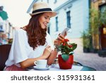 happy woman with smartphone in