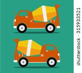 concrete mixer orange color in... | Shutterstock .eps vector #315933521