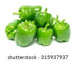 Ripe Green Pepper On A White...