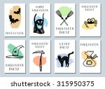 halloween cards. made with ink. ... | Shutterstock .eps vector #315950375