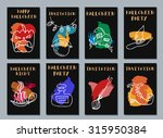 halloween cards. made with ink. ... | Shutterstock .eps vector #315950384