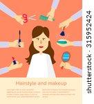 woman at beauty salon. hands... | Shutterstock .eps vector #315952424