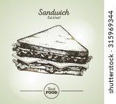 vintage fast food sandwich... | Shutterstock .eps vector #315969344