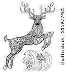 Hand Drawn Magic Horned Deer...