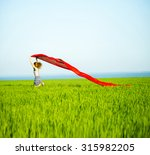 young lady runing with tissue... | Shutterstock . vector #315982205