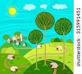 rural landscape with village ... | Shutterstock .eps vector #315991451