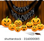 halloween scary pumpkins... | Shutterstock .eps vector #316000085