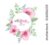 watercolor greeting card flowers | Shutterstock . vector #316006235