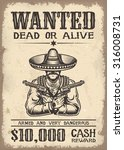 vintage wild west wanted poster ... | Shutterstock .eps vector #316008731