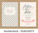 cute wedding invitation card  ... | Shutterstock .eps vector #316014071