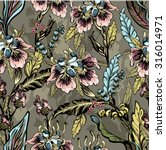 seamless pattern of decorative... | Shutterstock .eps vector #316014971