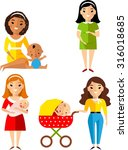set of pregnant  mother with... | Shutterstock .eps vector #316018685