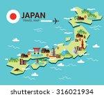 japan landmark and travel map.... | Shutterstock .eps vector #316021934