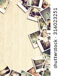frame with old paper and photos.... | Shutterstock . vector #316023251